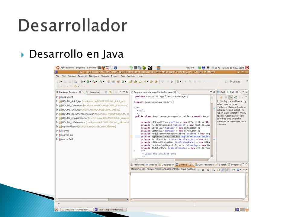 Desarrollador Desarrollo en Java