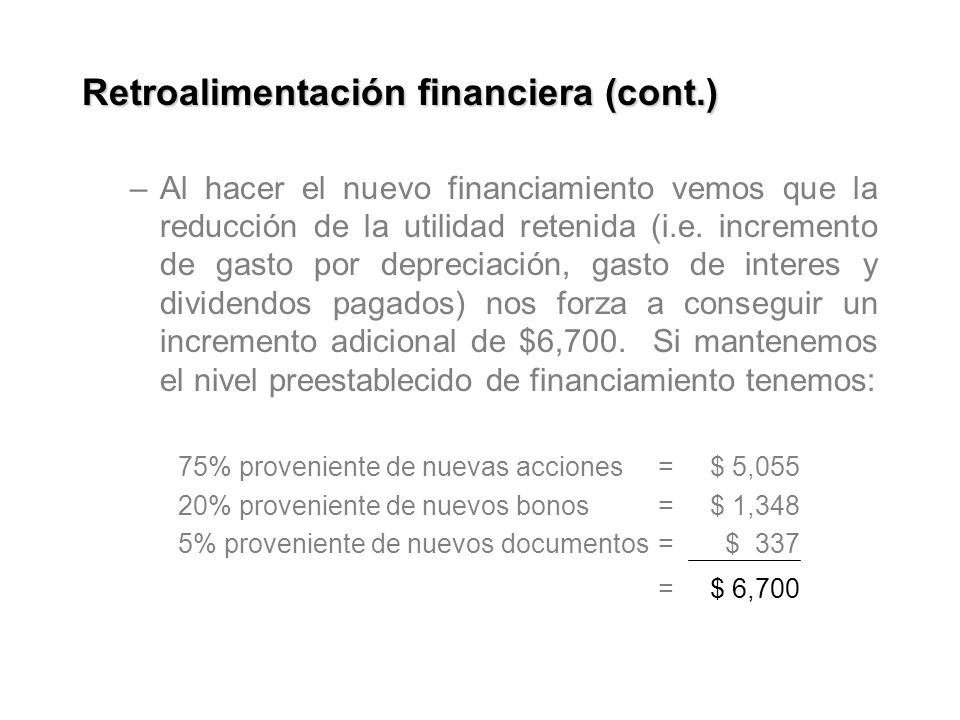 Retroalimentación financiera (cont.)