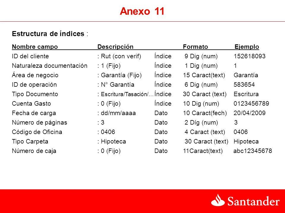 Anexo 11 Estructura de índices :