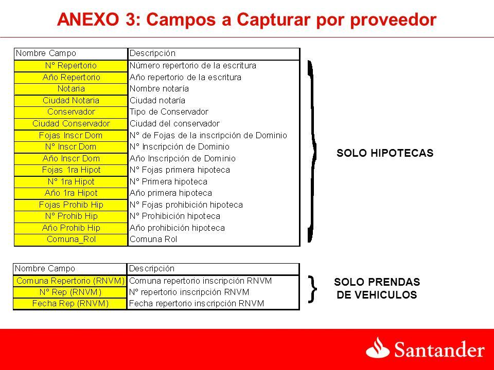 ANEXO 3: Campos a Capturar por proveedor SOLO PRENDAS DE VEHICULOS