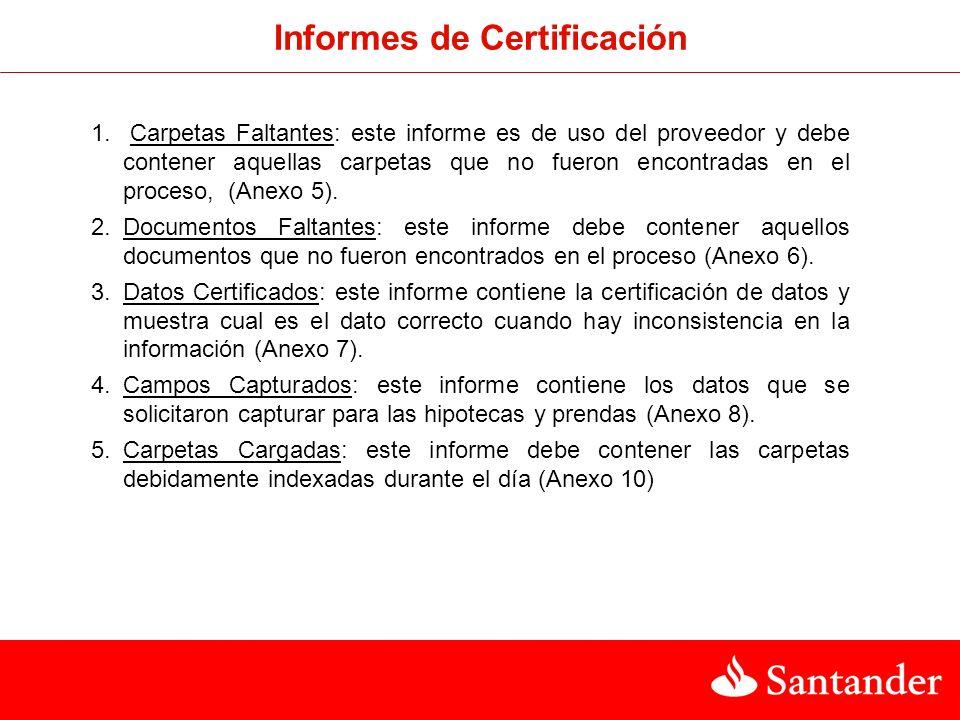 Informes de Certificación