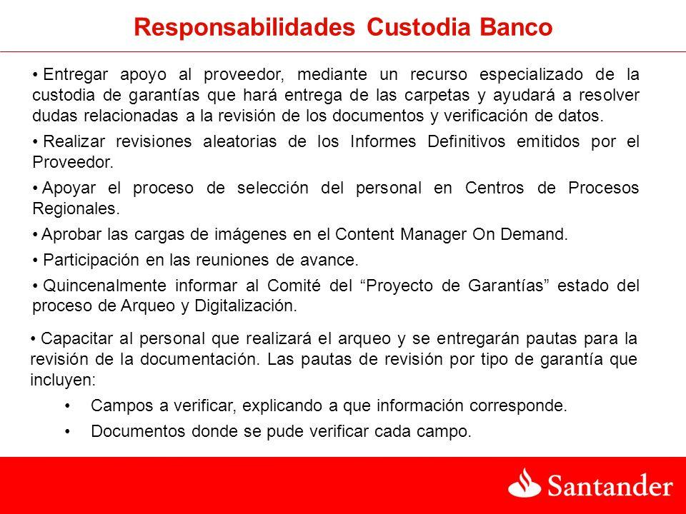 Responsabilidades Custodia Banco
