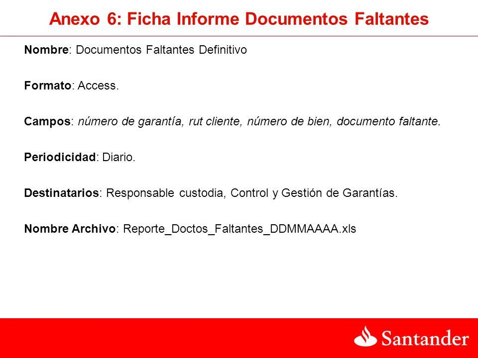 Anexo 6: Ficha Informe Documentos Faltantes