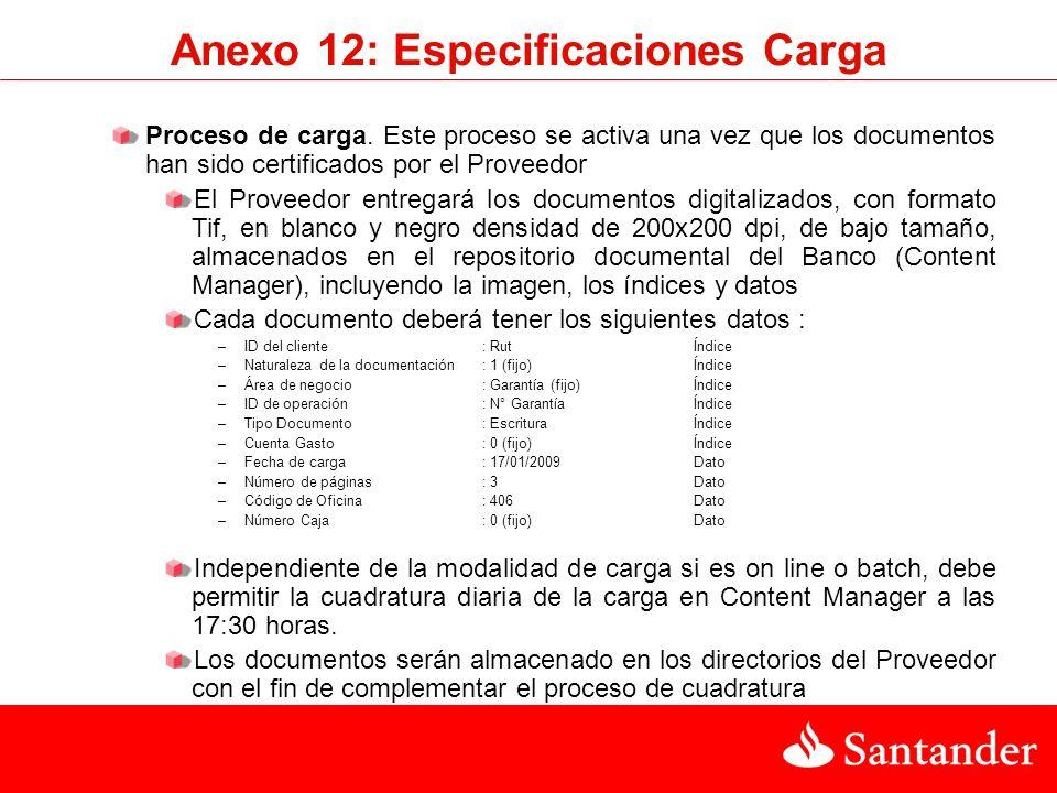 Anexo 12: Especificaciones Carga