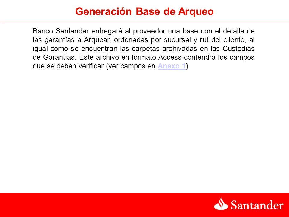 Generación Base de Arqueo