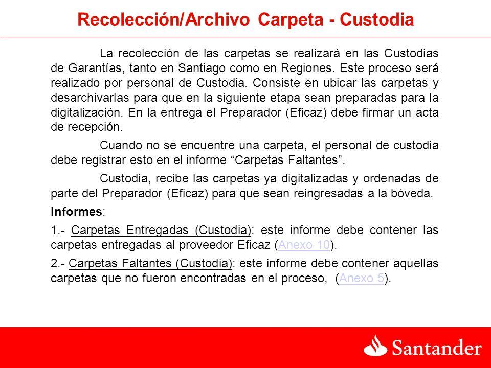 Recolección/Archivo Carpeta - Custodia