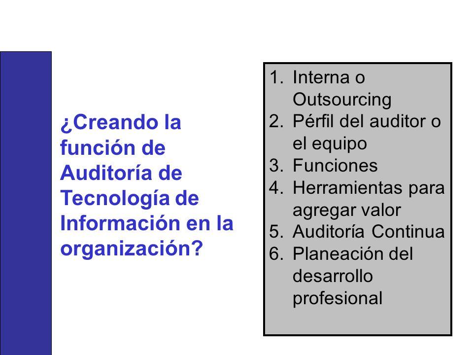Interna o Outsourcing Pérfil del auditor o el equipo. Funciones. Herramientas para agregar valor.