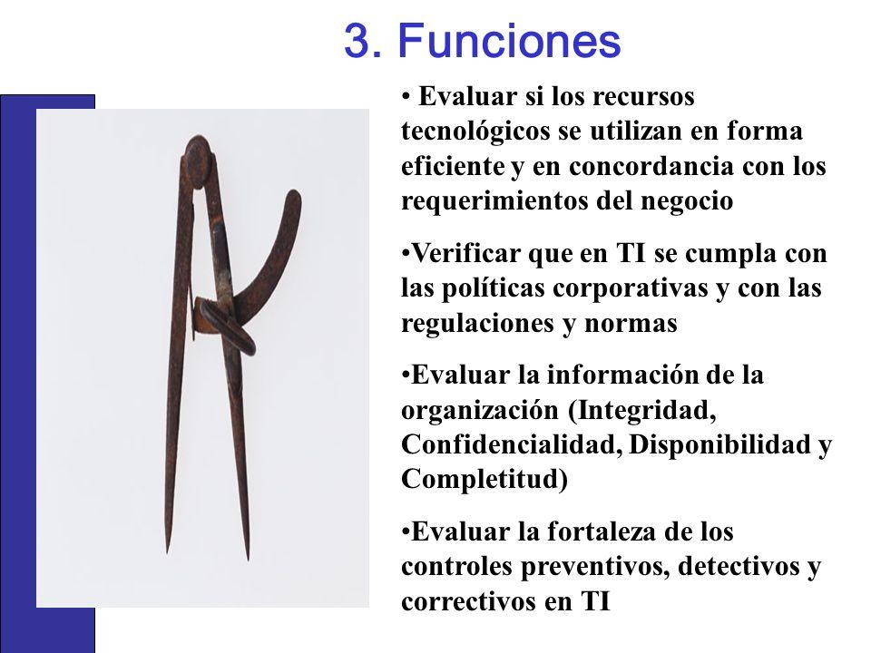 3. FuncionesEvaluar si los recursos tecnológicos se utilizan en forma eficiente y en concordancia con los requerimientos del negocio.