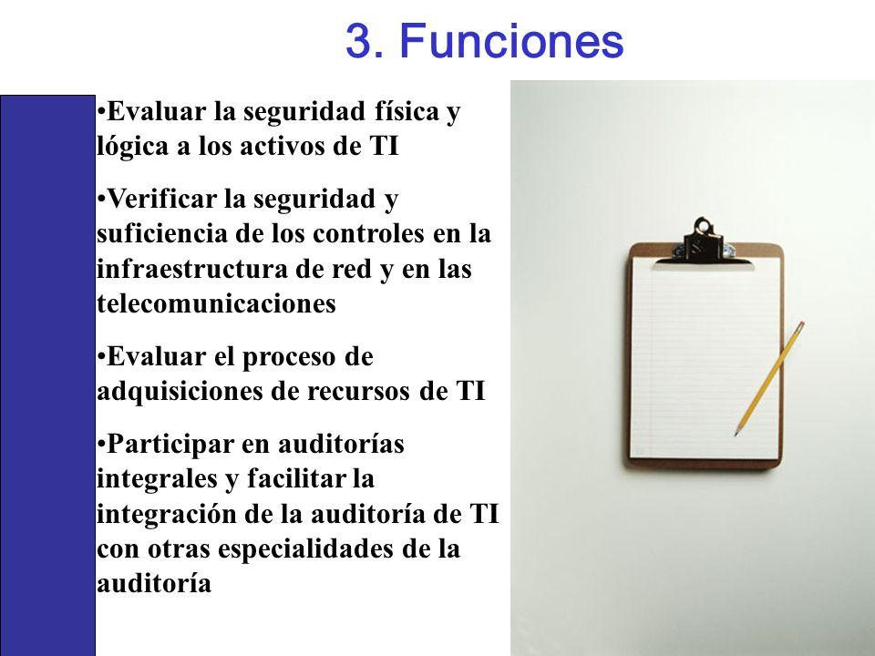 3. Funciones Evaluar la seguridad física y lógica a los activos de TI