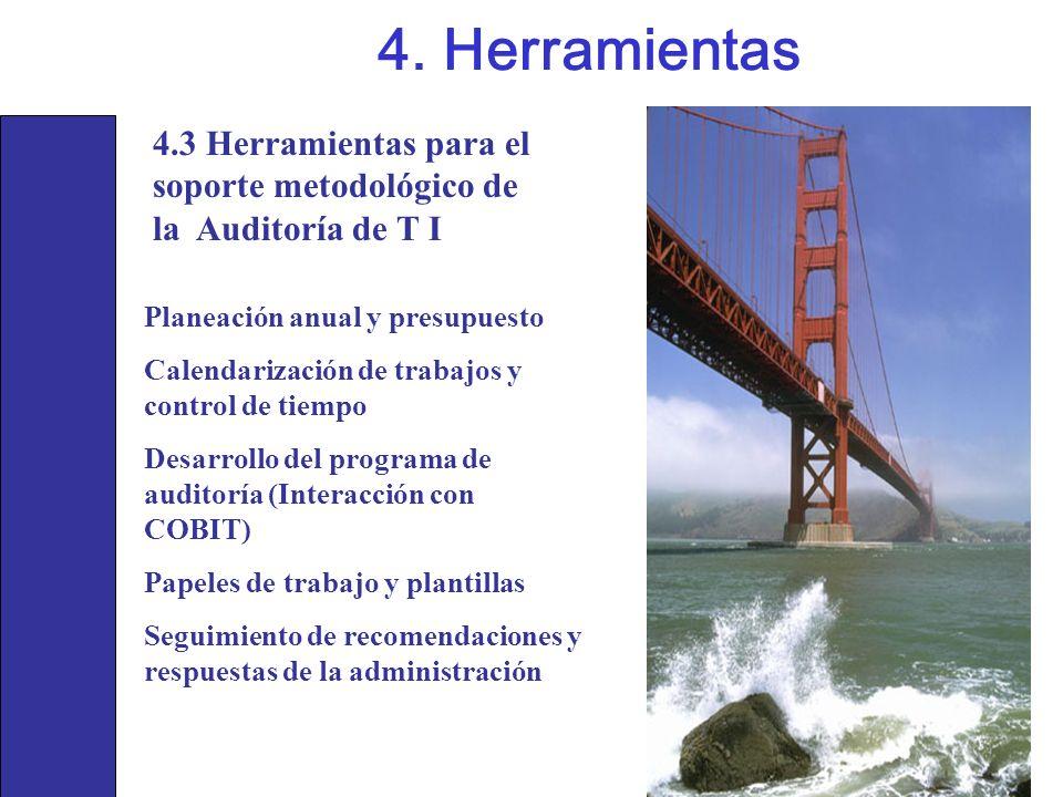 4. Herramientas4.3 Herramientas para el soporte metodológico de la Auditoría de T I. Planeación anual y presupuesto.