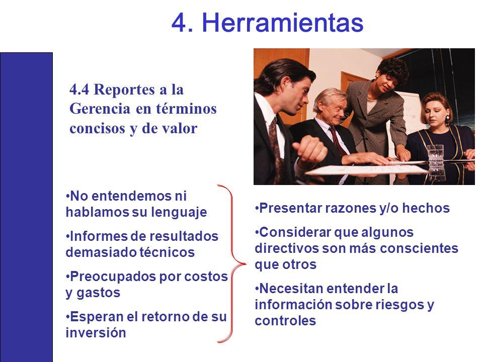 4. Herramientas 4.4 Reportes a la Gerencia en términos concisos y de valor. No entendemos ni hablamos su lenguaje.