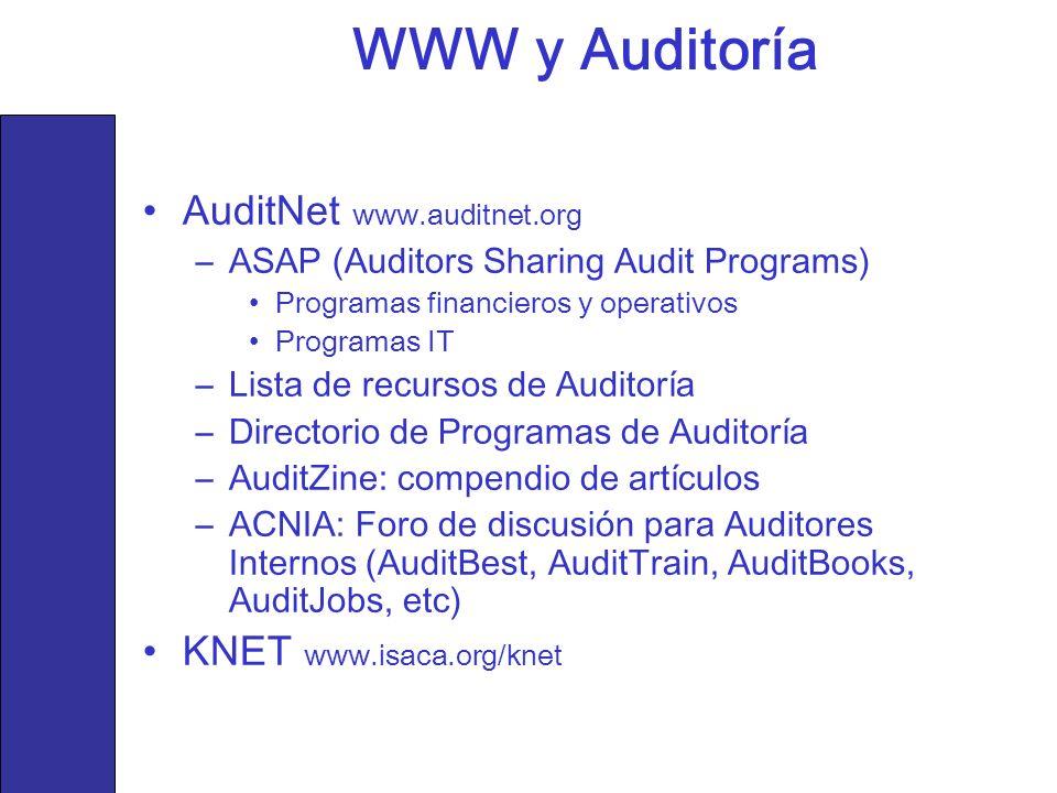 WWW y Auditoría AuditNet www.auditnet.org KNET www.isaca.org/knet