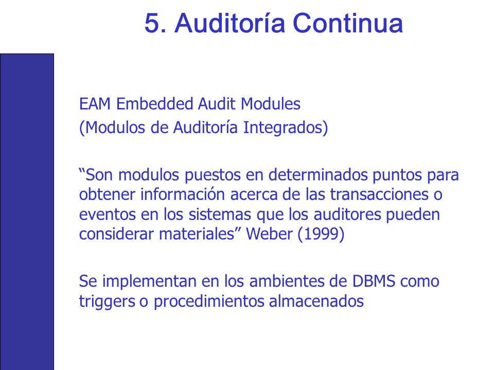 5. Auditoría Continua EAM Embedded Audit Modules