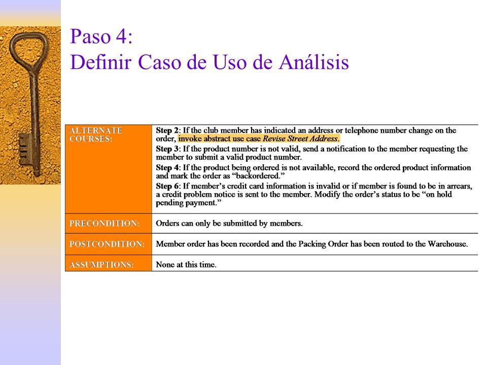 Paso 4: Definir Caso de Uso de Análisis
