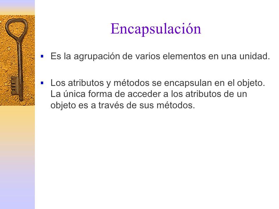 Encapsulación Es la agrupación de varios elementos en una unidad.