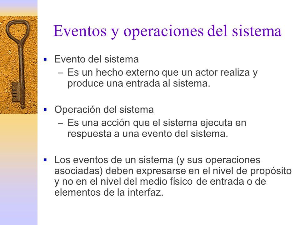 Eventos y operaciones del sistema