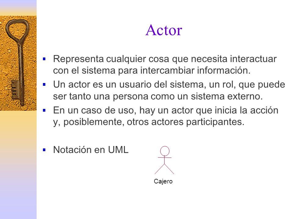 Actor Representa cualquier cosa que necesita interactuar con el sistema para intercambiar información.