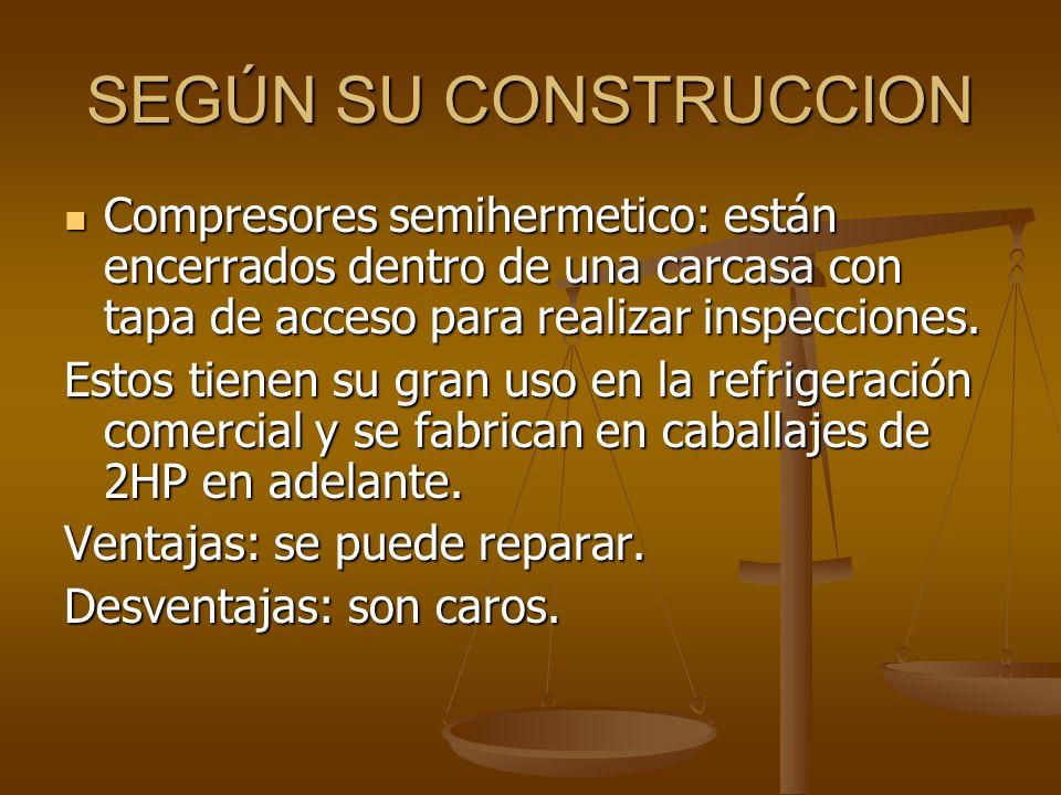 SEGÚN SU CONSTRUCCION Compresores semihermetico: están encerrados dentro de una carcasa con tapa de acceso para realizar inspecciones.