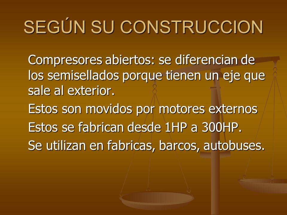 SEGÚN SU CONSTRUCCION Compresores abiertos: se diferencian de los semisellados porque tienen un eje que sale al exterior.