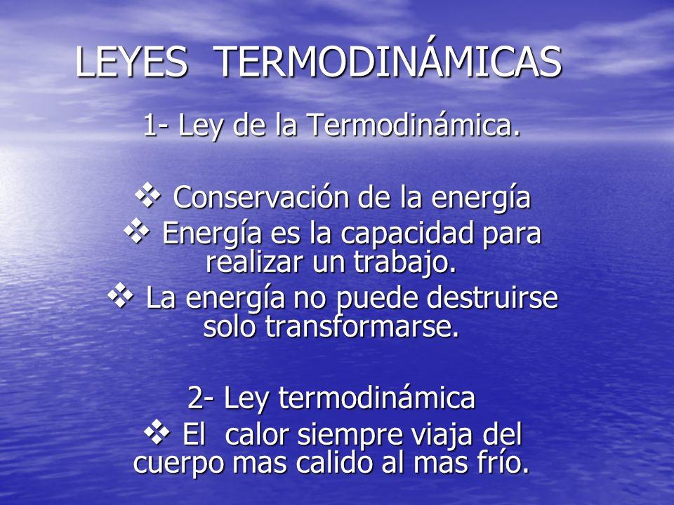 LEYES TERMODINÁMICAS 1- Ley de la Termodinámica.