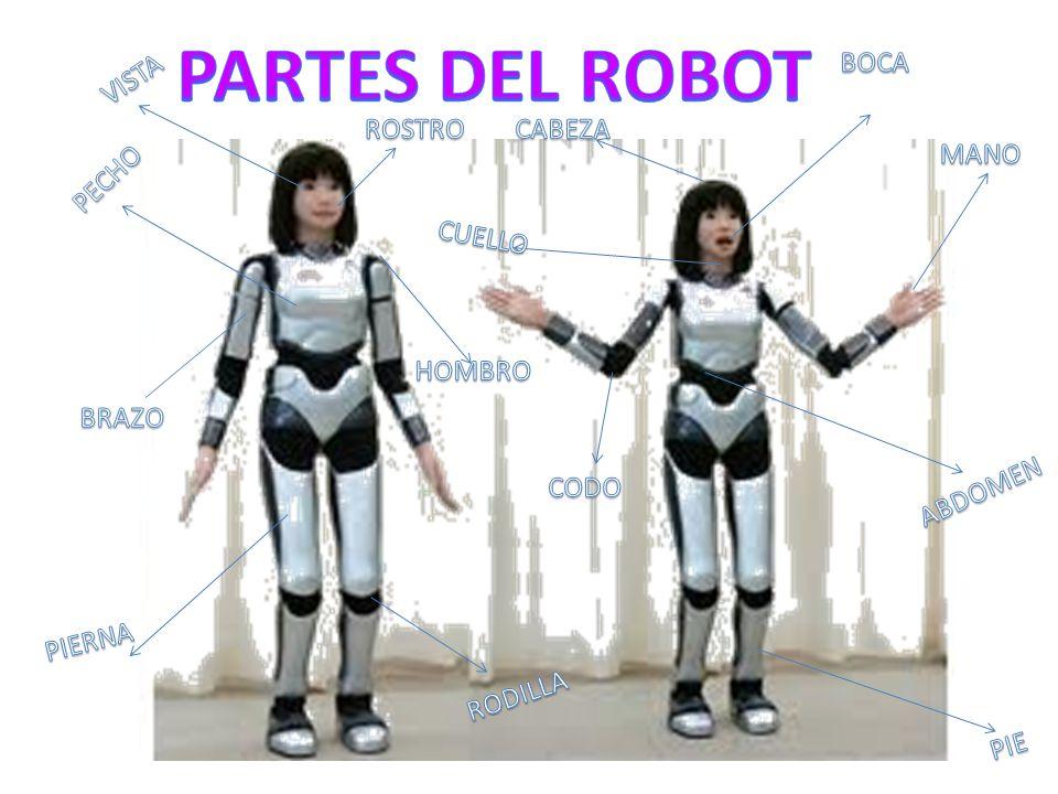 PARTES DEL ROBOT BOCA VISTA ROSTRO CABEZA MANO PECHO CUELLO HOMBRO