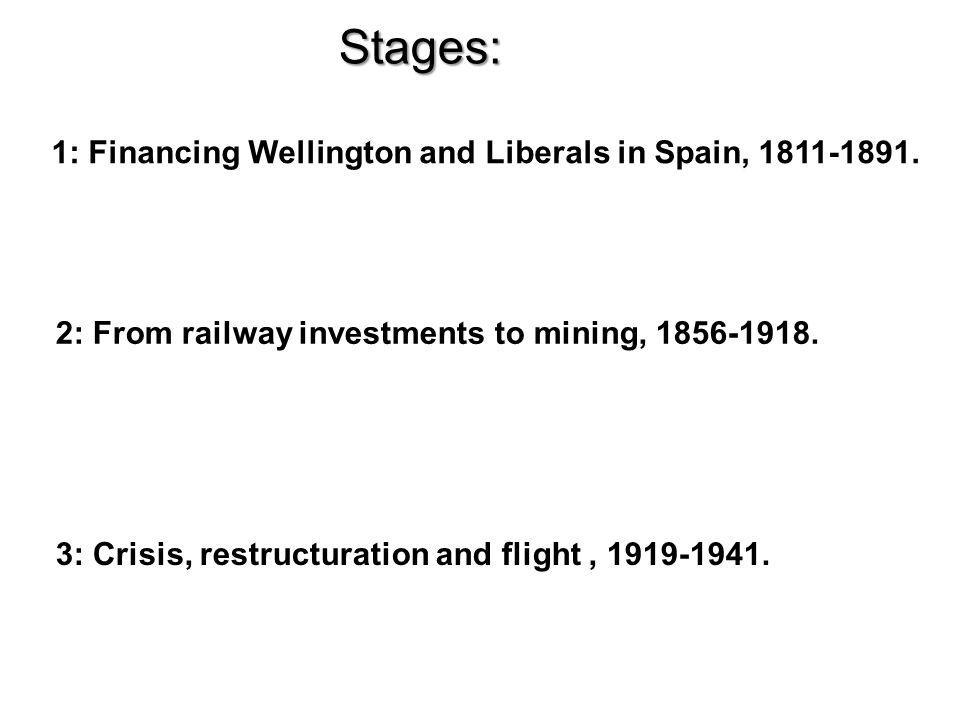 Stages: 1: Financing Wellington and Liberals in Spain, 1811-1891.