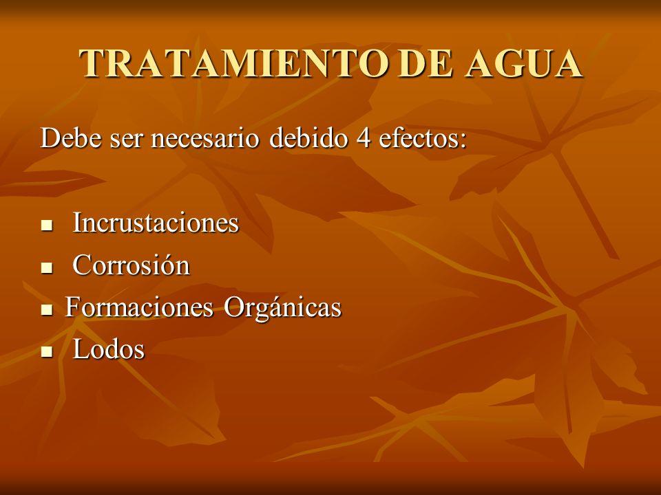 TRATAMIENTO DE AGUA Debe ser necesario debido 4 efectos: