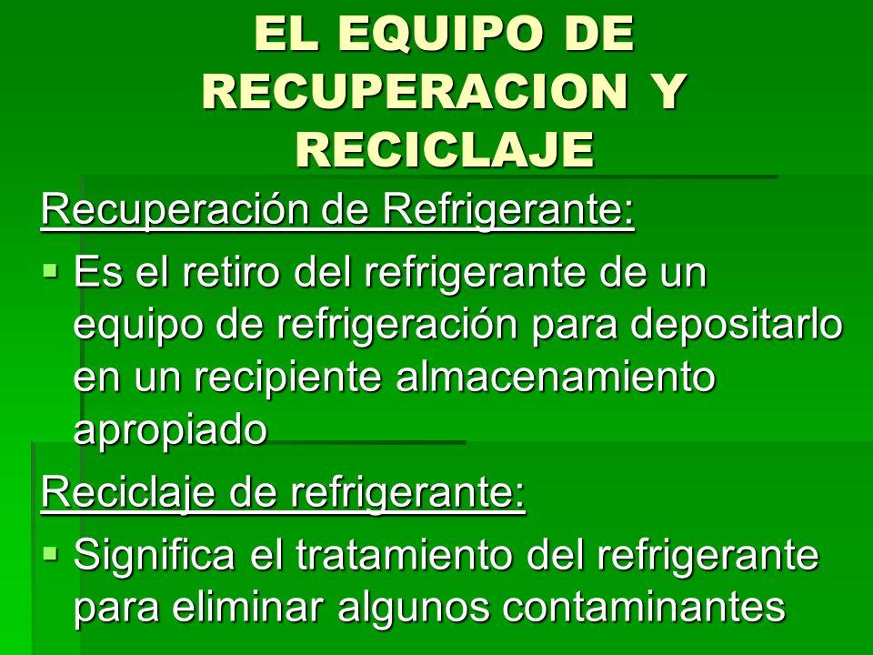 EL EQUIPO DE RECUPERACION Y RECICLAJE
