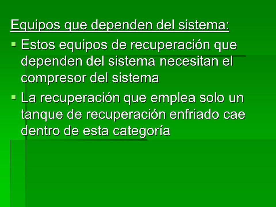 Equipos que dependen del sistema:
