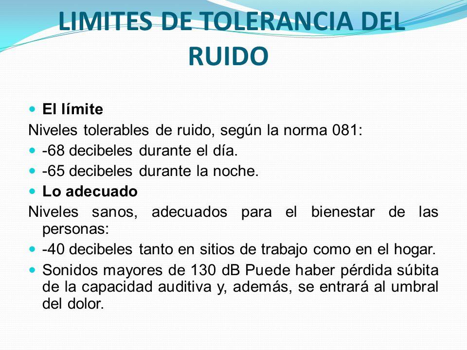 LIMITES DE TOLERANCIA DEL RUIDO