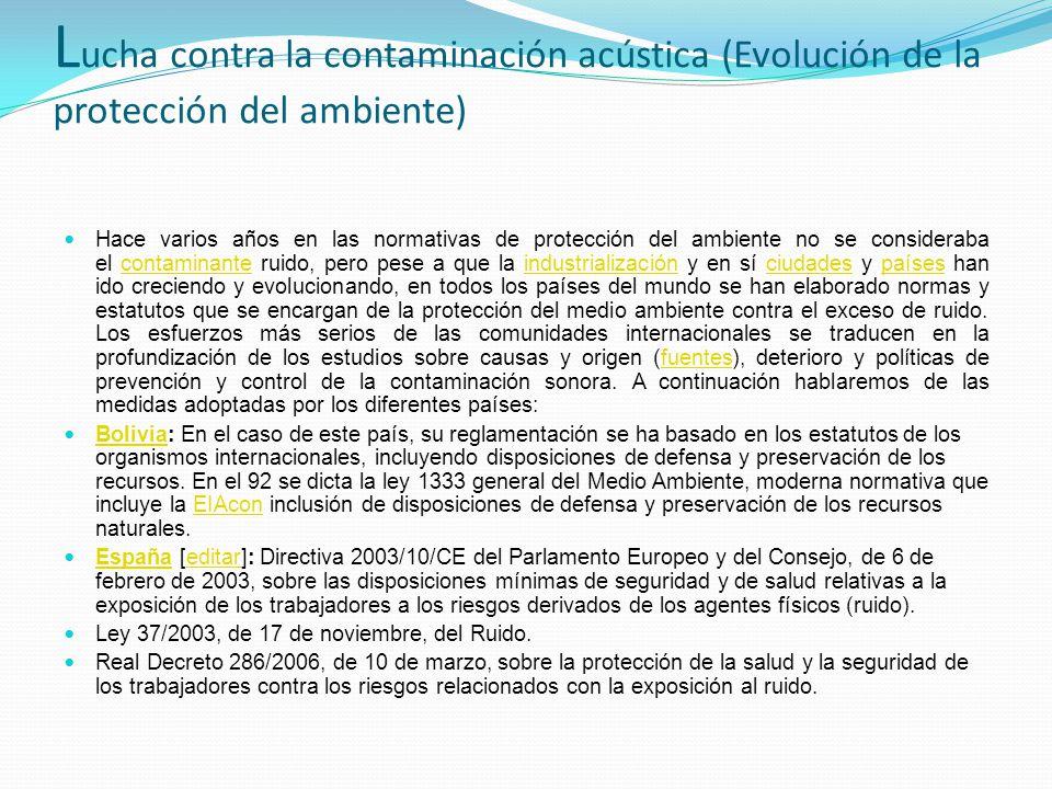 Lucha contra la contaminación acústica (Evolución de la protección del ambiente)