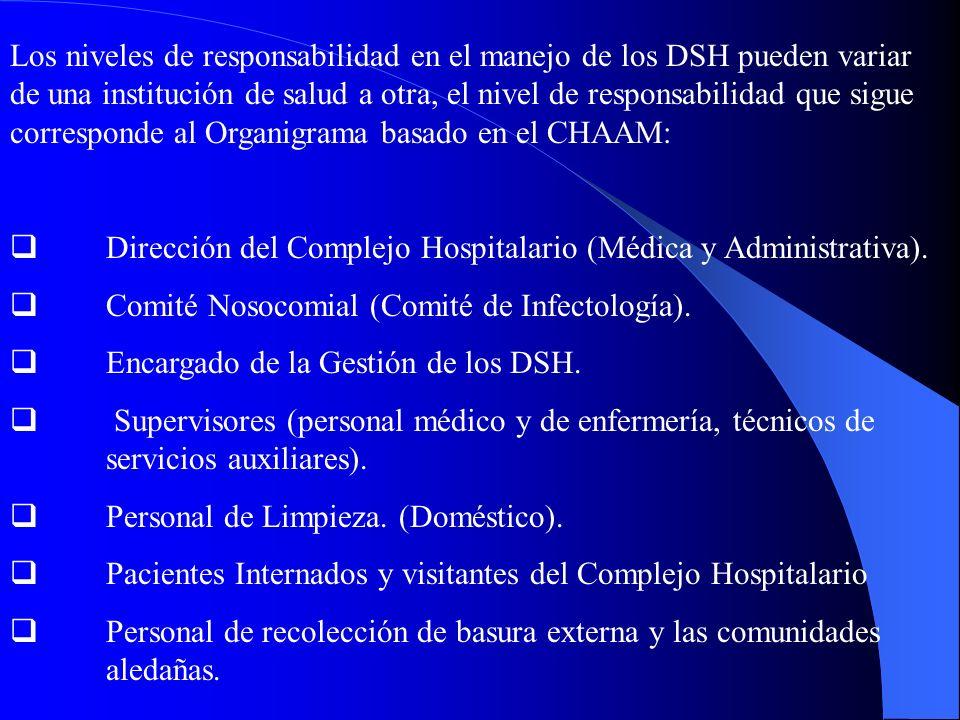 Los niveles de responsabilidad en el manejo de los DSH pueden variar de una institución de salud a otra, el nivel de responsabilidad que sigue corresponde al Organigrama basado en el CHAAM:
