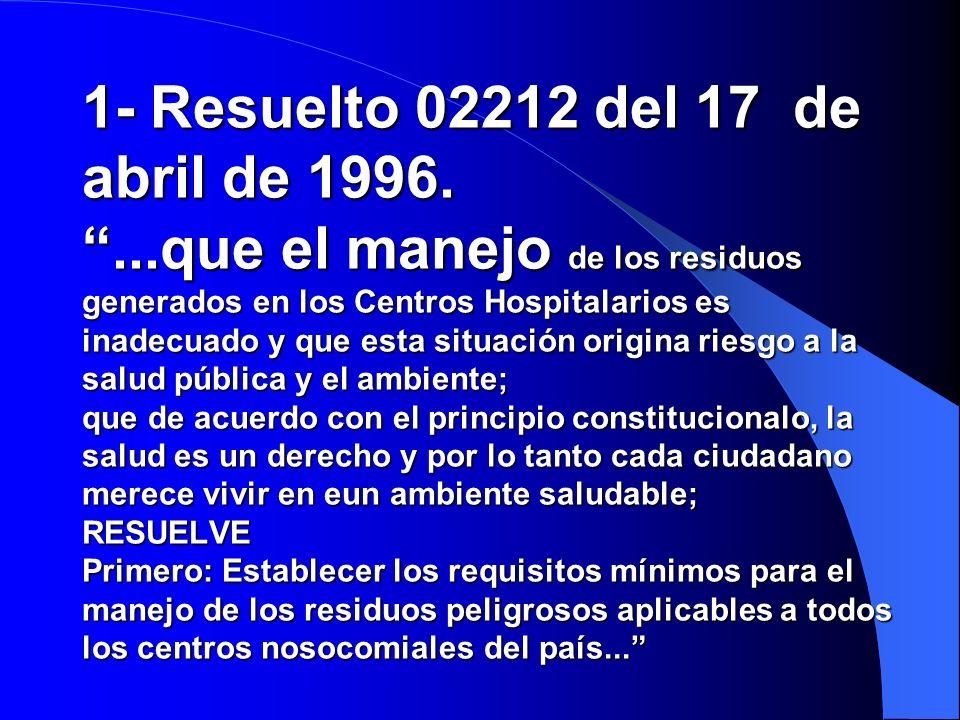 1- Resuelto 02212 del 17 de abril de 1996.