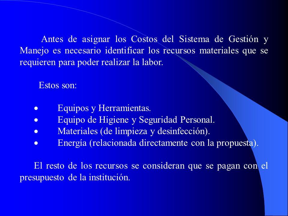 · Equipos y Herramientas. · Equipo de Higiene y Seguridad Personal.