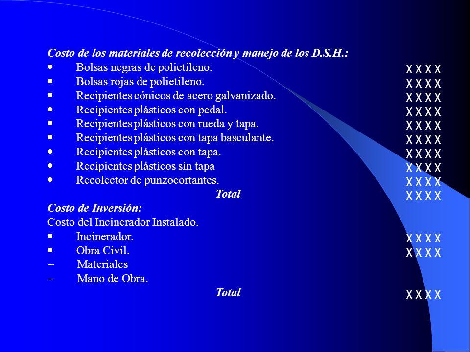 Costo de los materiales de recolección y manejo de los D.S.H.: