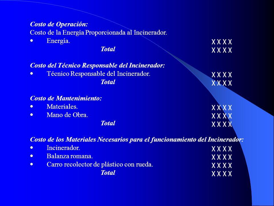 Costo de Operación: Costo de la Energía Proporcionada al Incinerador. · Energía. χ χ χ χ.