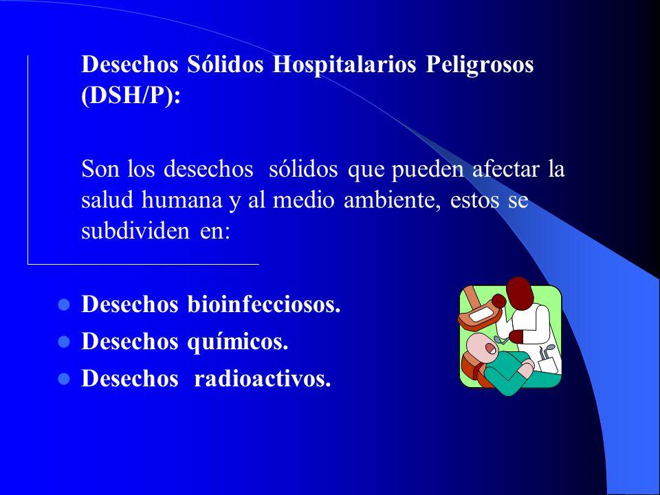 Desechos bioinfecciosos. Desechos químicos. Desechos radioactivos.