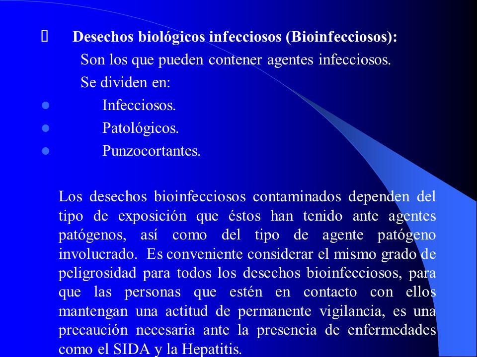 Ø Desechos biológicos infecciosos (Bioinfecciosos):