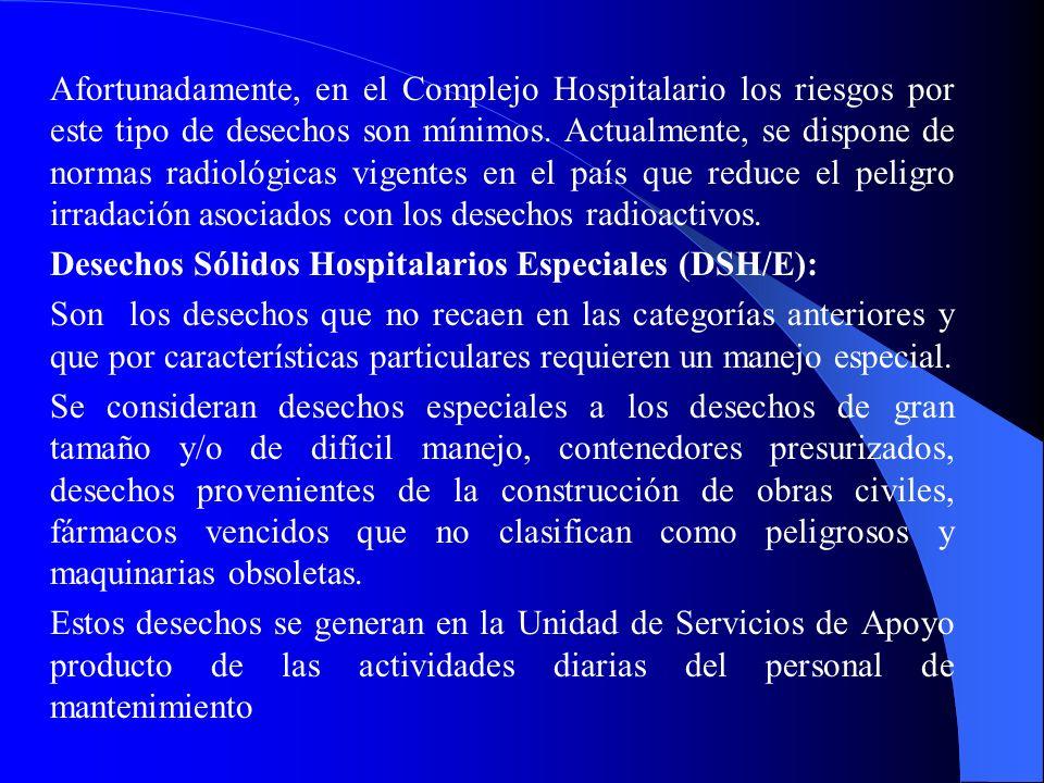 Desechos Sólidos Hospitalarios Especiales (DSH/E):