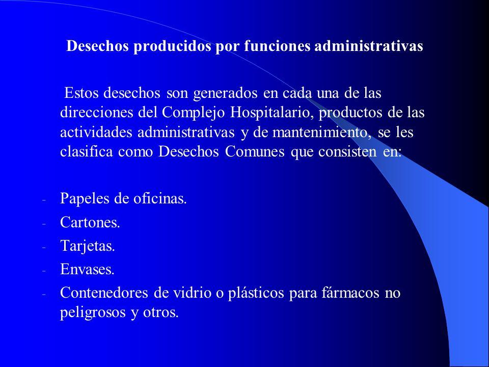 Desechos producidos por funciones administrativas