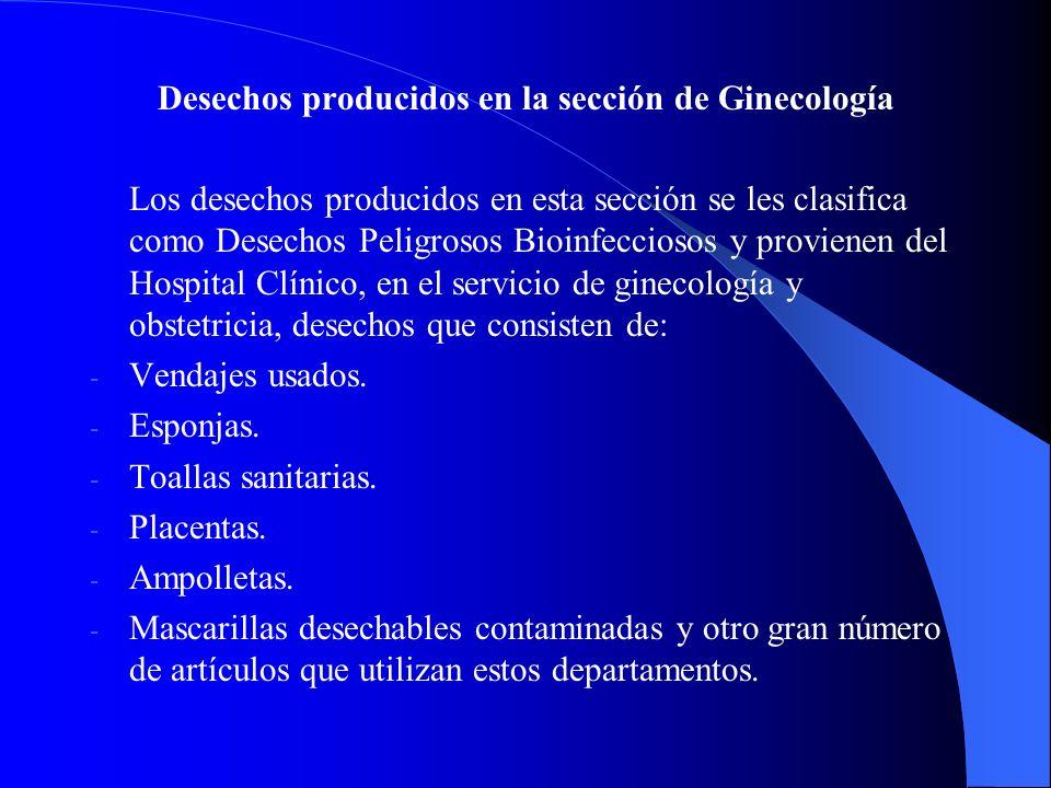 Desechos producidos en la sección de Ginecología
