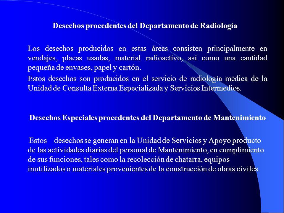 Desechos procedentes del Departamento de Radiología