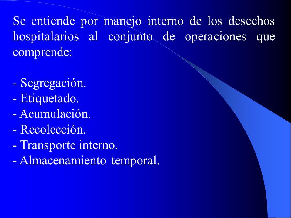 Se entiende por manejo interno de los desechos hospitalarios al conjunto de operaciones que comprende:
