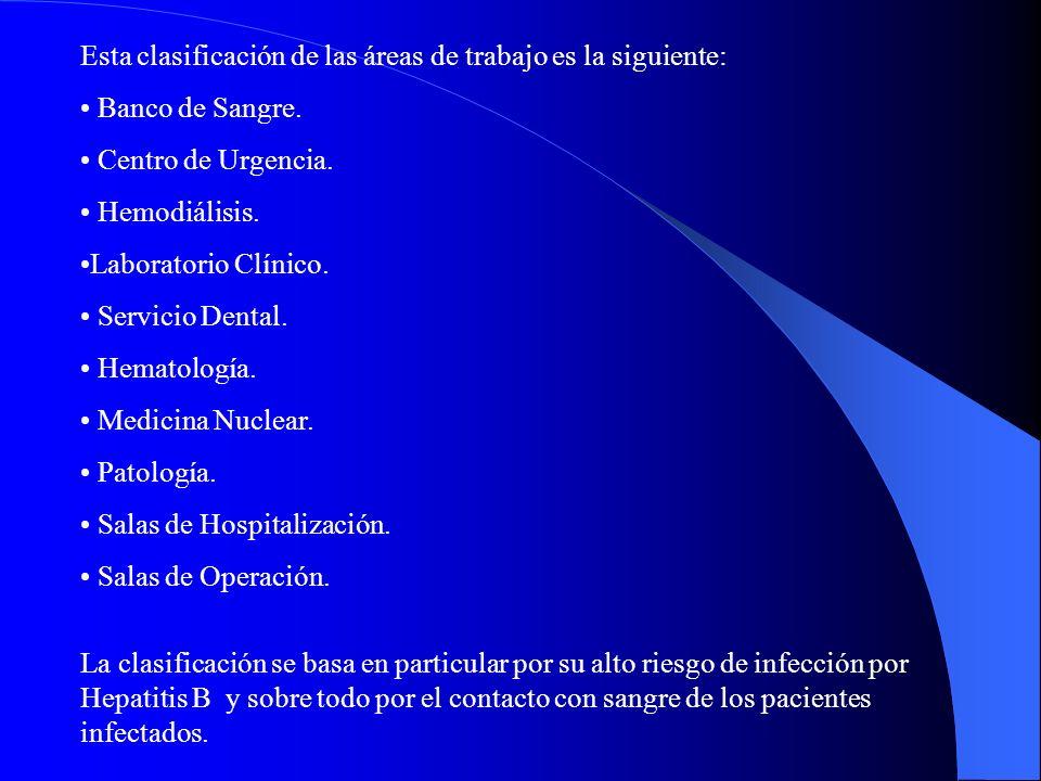 Esta clasificación de las áreas de trabajo es la siguiente: