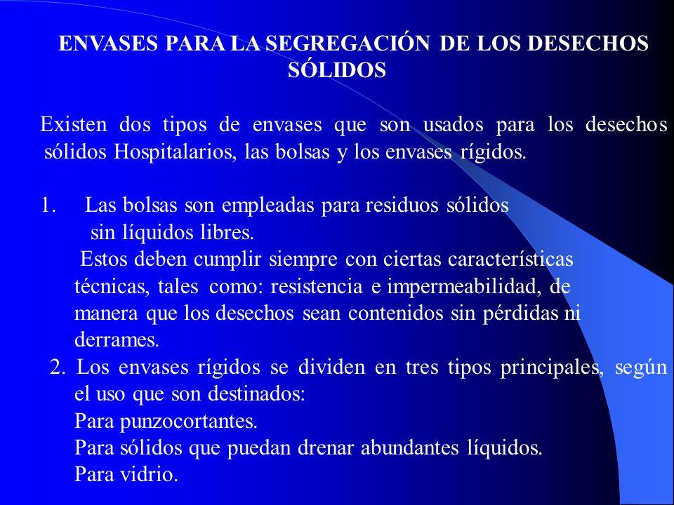 ENVASES PARA LA SEGREGACIÓN DE LOS DESECHOS SÓLIDOS