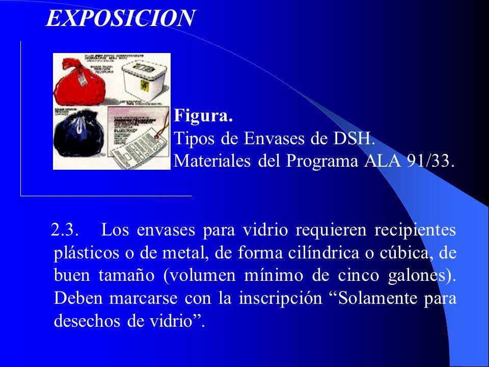 EXPOSICION Figura. Tipos de Envases de DSH.