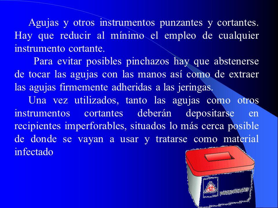 Agujas y otros instrumentos punzantes y cortantes