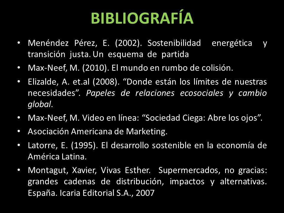 BIBLIOGRAFÍA Menéndez Pérez, E. (2002). Sostenibilidad energética y transición justa. Un esquema de partida.