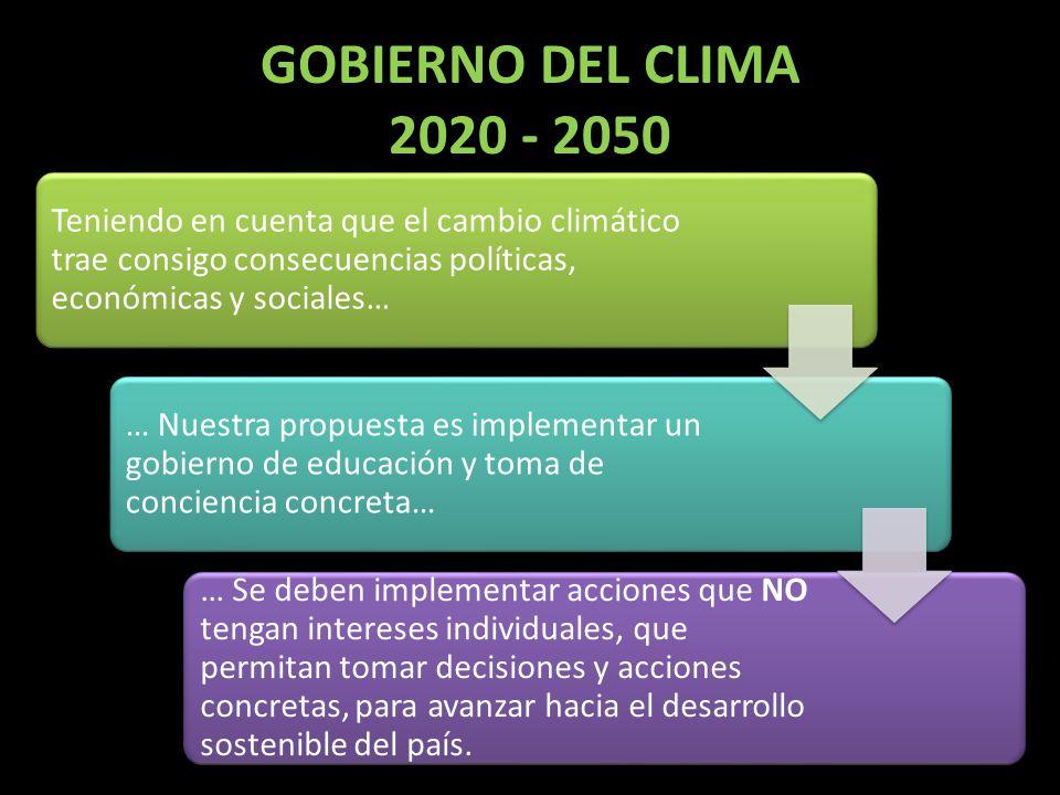 GOBIERNO DEL CLIMA 2020 - 2050 Teniendo en cuenta que el cambio climático trae consigo consecuencias políticas, económicas y sociales…