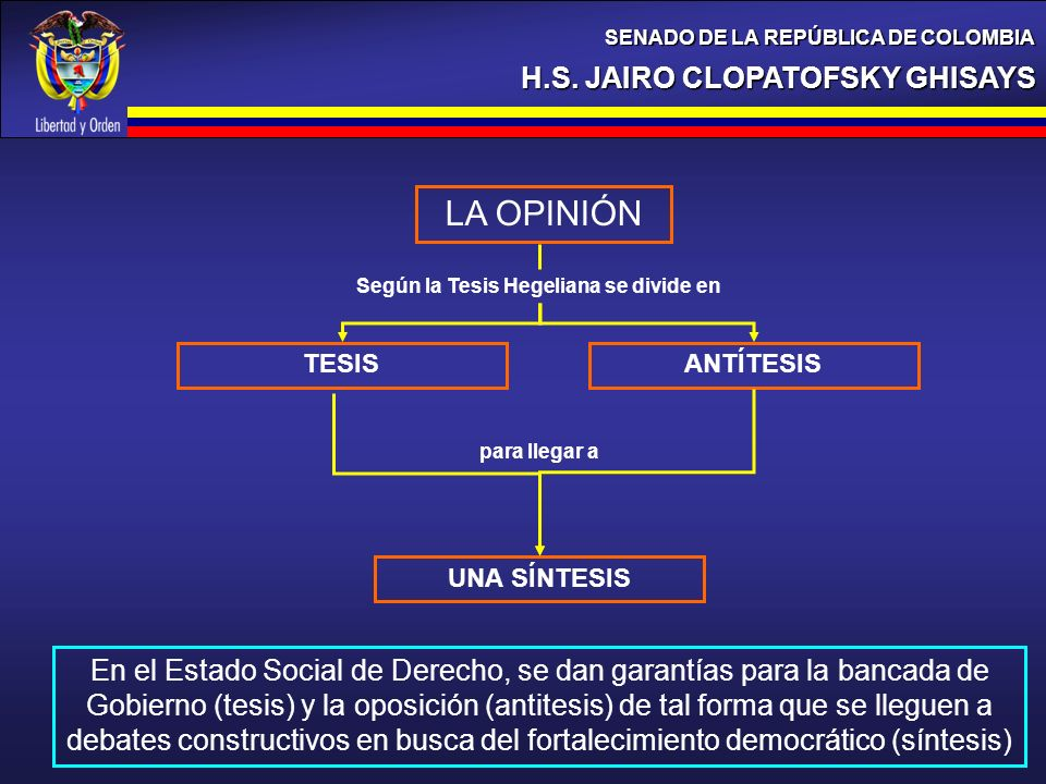 Según la Tesis Hegeliana se divide en